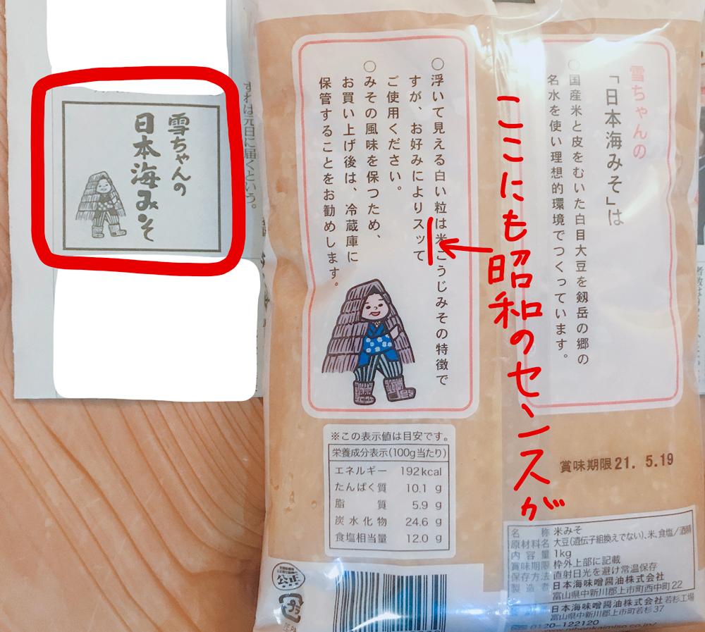 日本海味噌のパッケージ(裏)