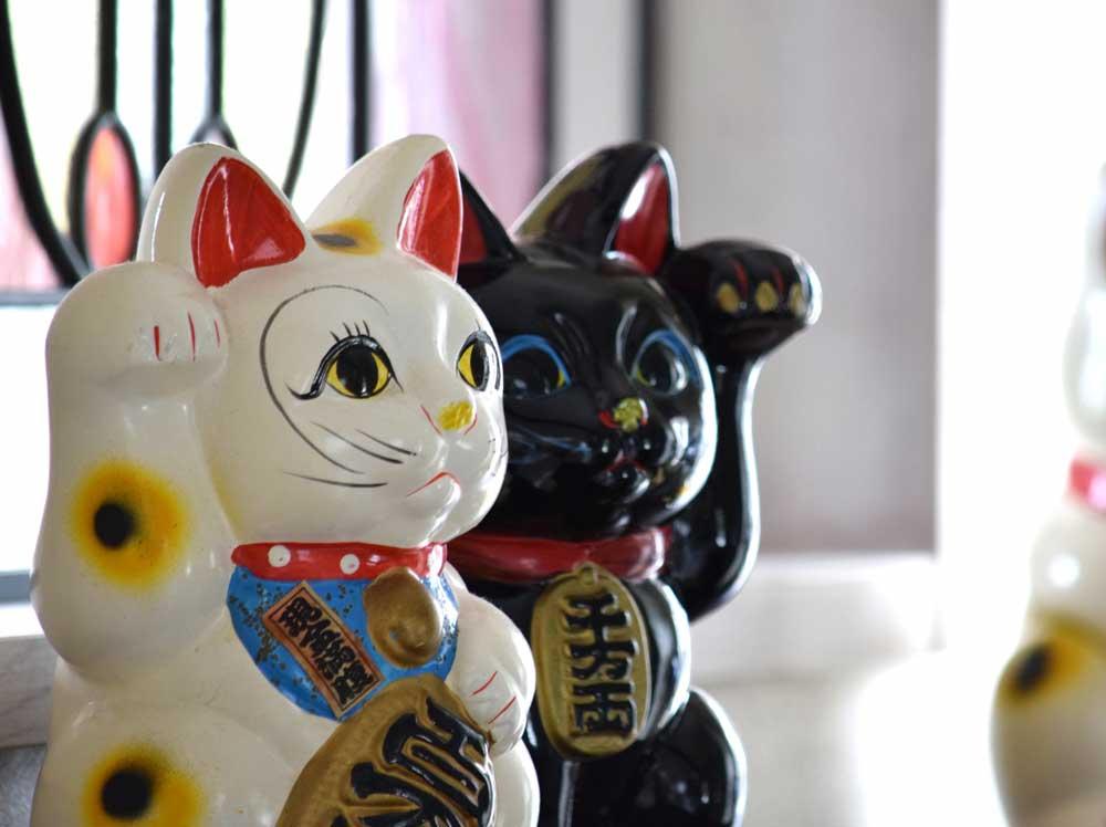 白い招き猫と黒い招き猫